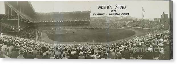 Playoffs Canvas Print featuring the photograph 1927 World Series At Yankee Stadium 1927 by National Baseball Hall Of Fame Library