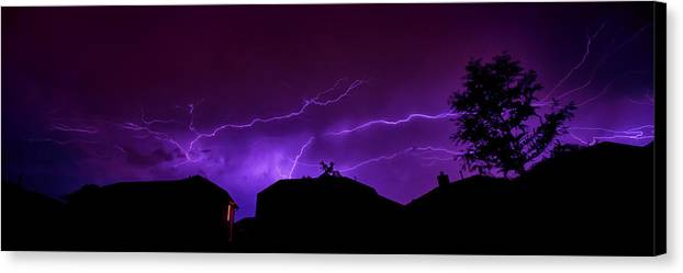 Lightning Canvas Print featuring the photograph The Lightning Over Avery Neighborhood by Lisa Spencer