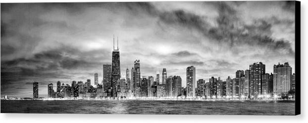 Chicago canvas print featuring the painting chicago gotham city skyline black and white panorama by christopher