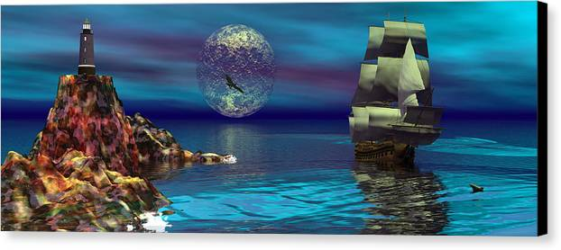 Bryce 3d Scifi Fantasy  Dolphin tall Ship Windjammer \sailing Ship\ Sailing Canvas Print featuring the digital art Beacon Of Hope by Claude McCoy