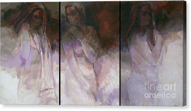 Figurative Canvas Print featuring the painting Journey triptych by Tina Siddiqui