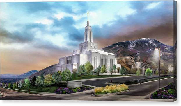 Draper Canvas Print featuring the painting Draper Temple #4 by Brent Borup