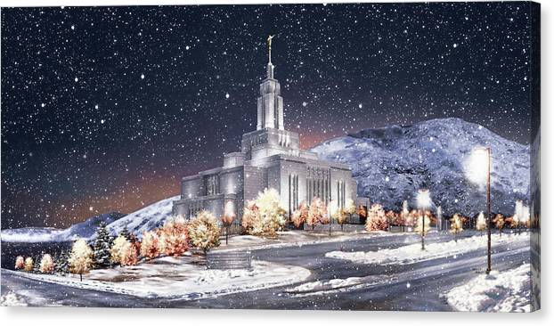Draper Canvas Print featuring the painting Draper Temple - First Snowfall by Brent Borup