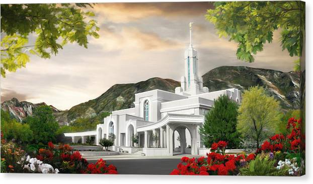 Mount Canvas Print featuring the painting Mt. Timpanogos Temple #1 by Brent Borup