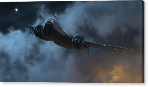 Heinkel Canvas Print featuring the digital art Nightfighter - Painterly by Robert Perry