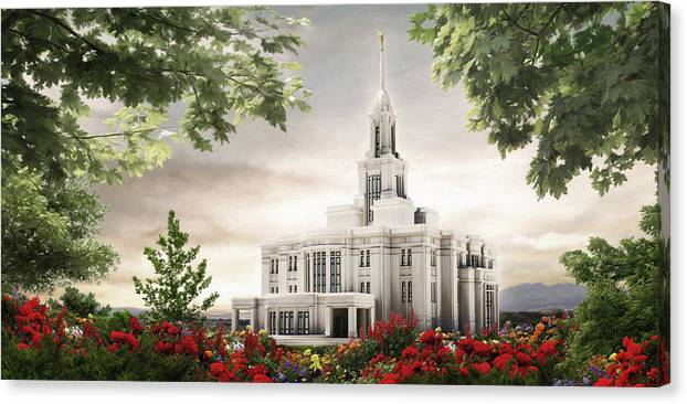 Payson Canvas Print featuring the painting Payson Temple by Brent Borup