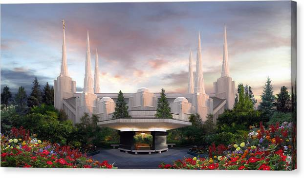 Portland Canvas Print featuring the painting Portland Temple by Brent Borup
