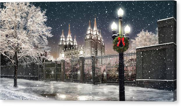 Salt Lake Canvas Print featuring the painting Salt Lake Temple Christmas Lights by Brent Borup