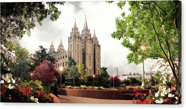 Salt Lake Canvas Print featuring the painting Salt Lake Temple - Summer by Brent Borup