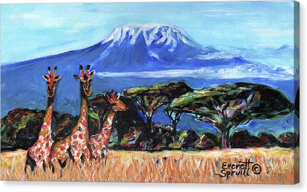 Everett Spruill Canvas Print featuring the painting Three Giraffes by Everett Spruill