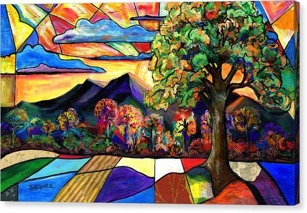 Everett Spruill Canvas Print featuring the painting Autumn Sunrise by Everett Spruill