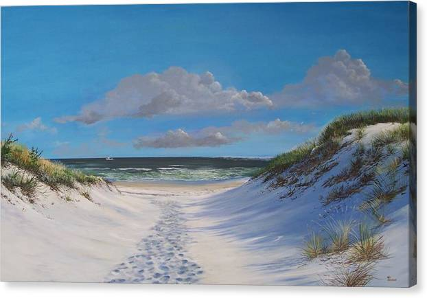 Seascape Canvas Print featuring the painting Island Beach Dune Walk by Ken Ahlering