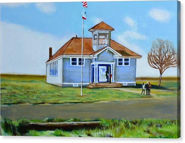 Buildings; School; Landscape; African American Community; Historical State Park; Canvas Print featuring the painting Allensworth School by Howard Stroman
