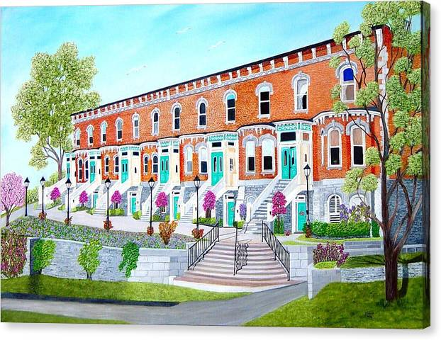 Belleville Ontario Buildings Painting Canvas Print featuring the painting Bellevue Terace circa 1876 by Peggy Holcroft