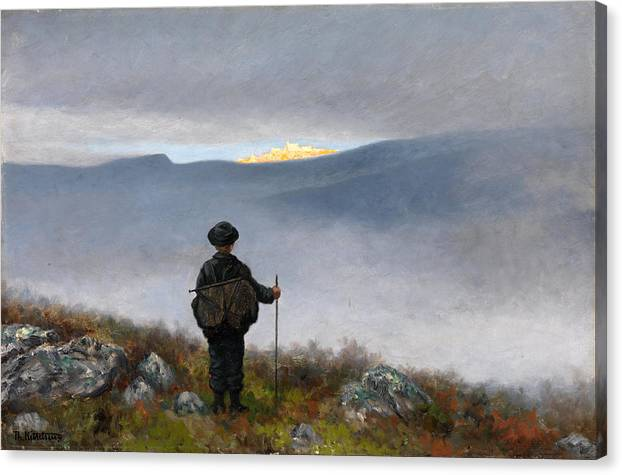 Far far away Soria Moria Palace shimmered like Gold by Theodor Kittelsen
