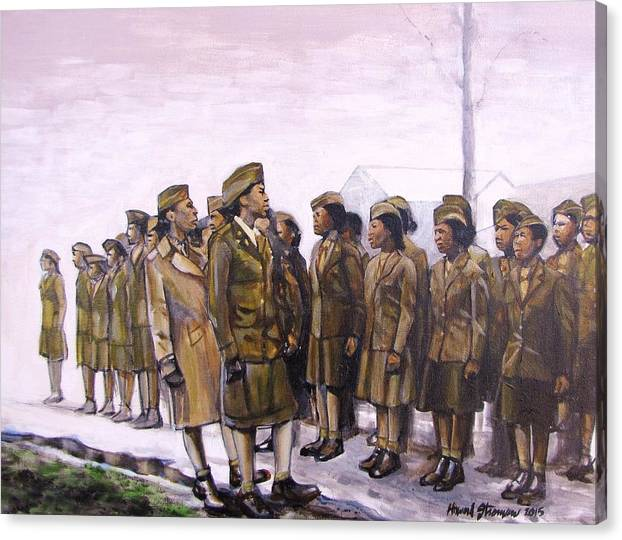 Military; Women Military; Soldiers; Ww2; Army; Women Soldiers; Canvas Print featuring the painting Attention by Howard Stroman