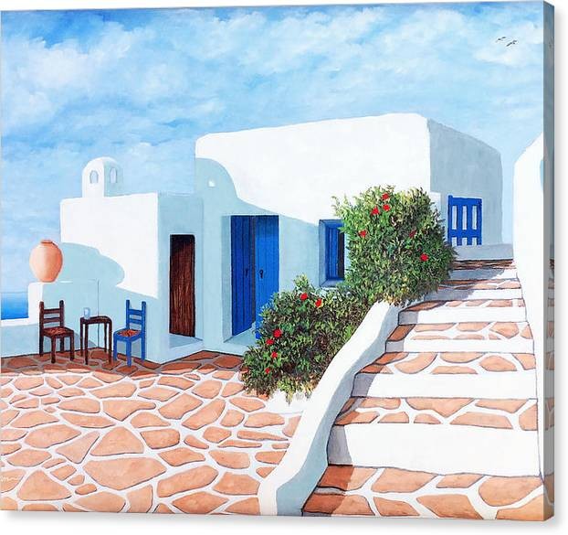 Santorini Canvas Print featuring the painting Prints - Santorini Morning by Mary Grden