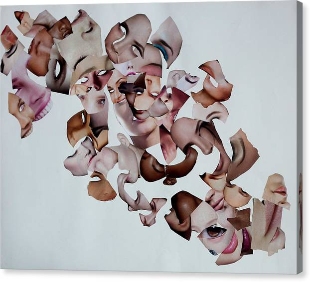 Canvas Print featuring the mixed media Flux Presentation of the Self by Arvo Zylo