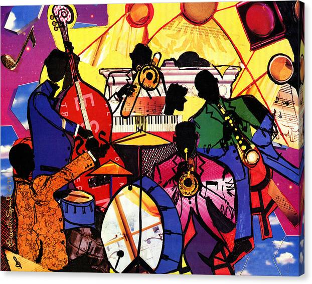 Everett Spruill Canvas Print featuring the painting Old School Jazz by Everett Spruill
