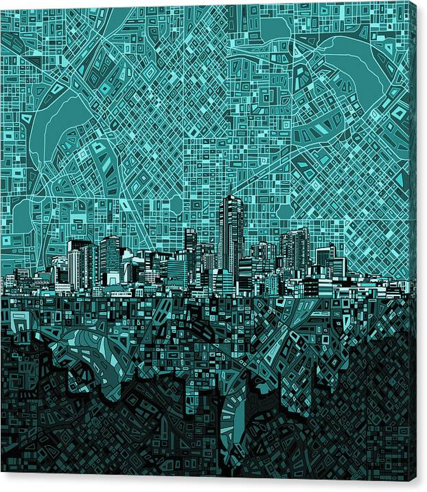 Denver Skyline Abstract 5 by Bekim M