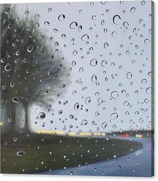 Raindrops Canvas Print featuring the painting Alabama Rain by Hunter Jay
