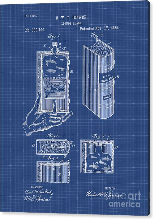 Liquor Flask Concealed In A Legal Decisions Book Patent Print by Visual Design