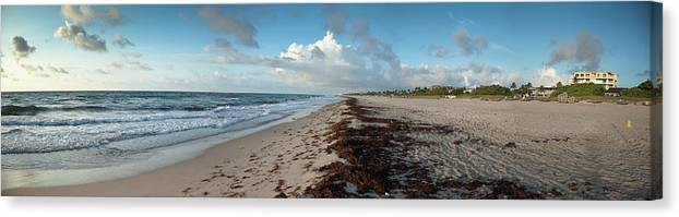 Scenics Canvas Print featuring the photograph Florida Beach With Gentle Waves And by Drnadig