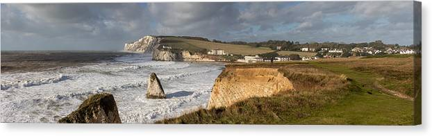 Tranquility Canvas Print featuring the photograph Freshwater Bay panorama by s0ulsurfing - Jason Swain