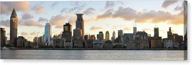 Panoramic Canvas Print featuring the photograph The Afternoon Of The Bund Buildings by Fine