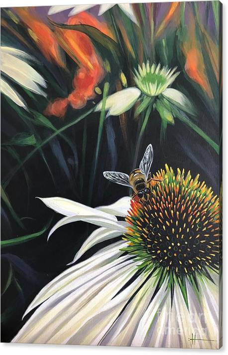 Daisy Canvas Print featuring the painting The Honeythief by Hunter Jay