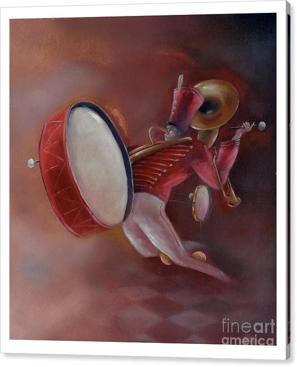 Drum Canvas Print featuring the painting One Man Band by Chris Van Es