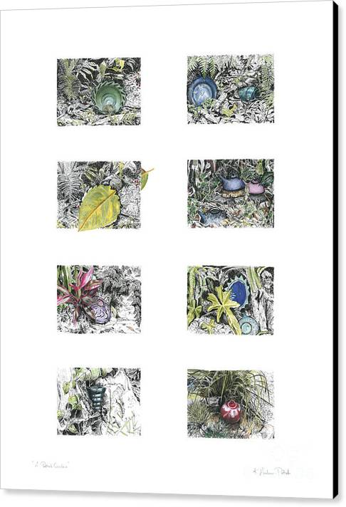 Tropical Canvas Print featuring the drawing A Potters Garden by Kerryn Madsen-Pietsch