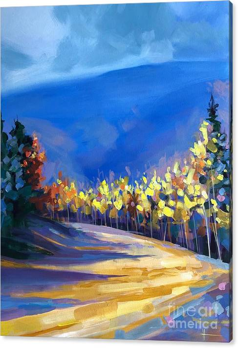 Aspens Canvas Print featuring the painting Foot of the Mountain by Hunter Jay