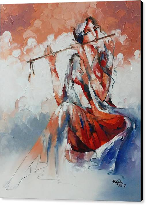 Young Lady Playing Flute by Sajida Hussain
