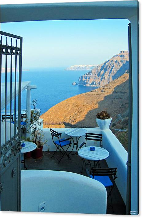 Limited Time Promotion: Resting Place In Santorini Stretched Canvas Print by Alexandros Daskalakis