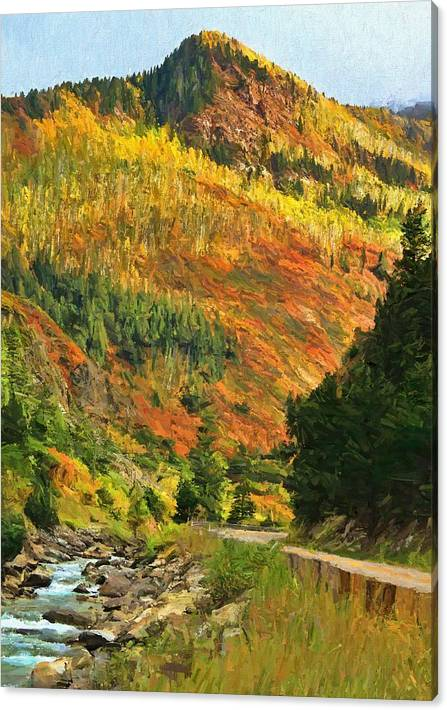 Limited Time Promotion: Autumn Road In Colorado Stretched Canvas Print