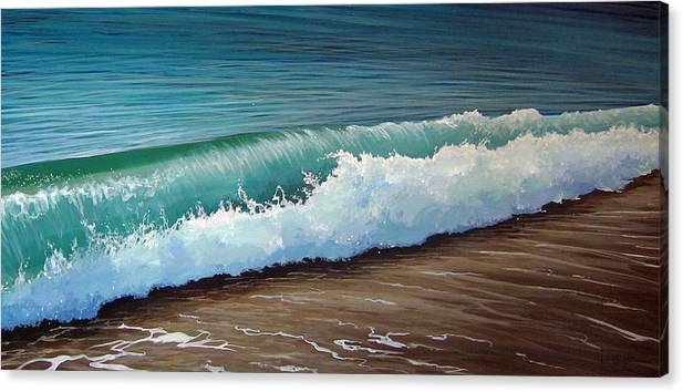 Wave On A Florida Beach Canvas Print featuring the painting To The Shore by Hunter Jay