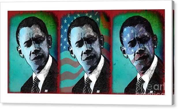 Obama Canvas Print featuring the digital art Obama-1 by Chris Van Es