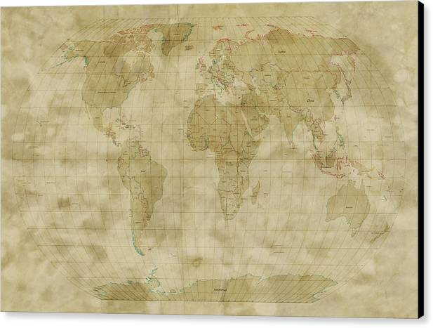 Map Of The World Canvas Print featuring the digital art World Map Antique Style by Michael Tompsett