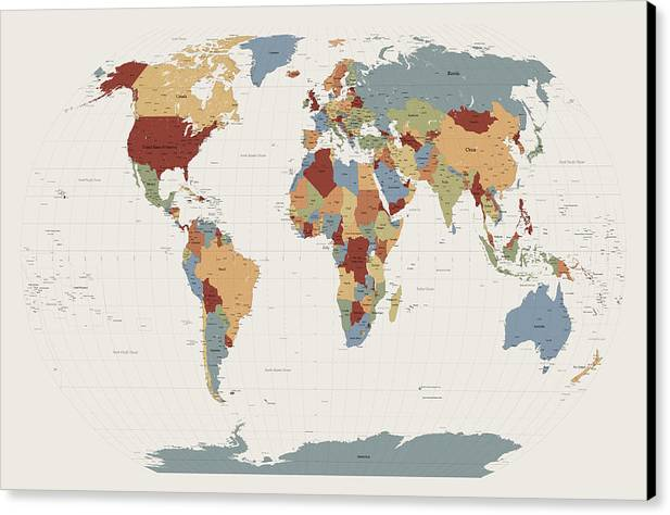 World map muted colors canvas print canvas art by michael tompsett map of the world canvas print featuring the digital art world map muted colors by michael gumiabroncs Gallery