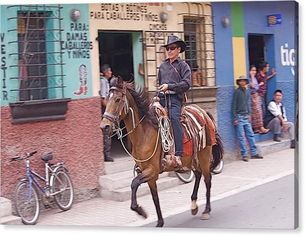 Cowboy Canvas Print featuring the photograph Vaquero En Pastores by Joseph Cosby