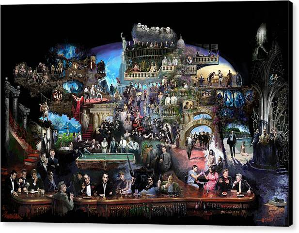 Icones Of History And Entertainment Canvas Print featuring the mixed media Icons Of History And Entertainment by Ylli Haruni