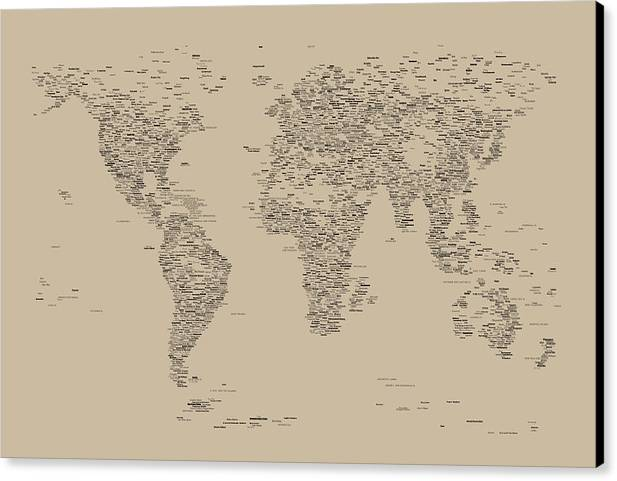 Map Of The World Canvas Print featuring the digital art World Map Of Cities by Michael Tompsett