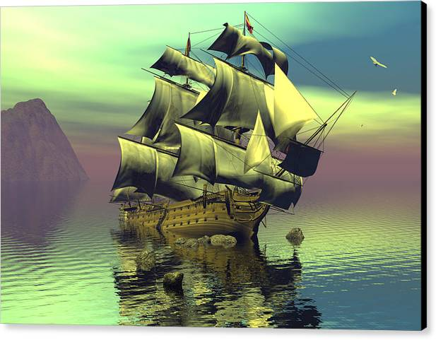 Bryce Canvas Print featuring the digital art Hard Aground Taking On Water by Claude McCoy