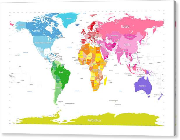 Continents World Map Large Text For Kids Canvas Print