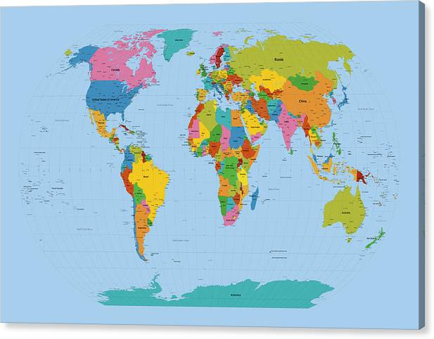 World Map Bright Canvas Print / Canvas Art by Michael Tompsett