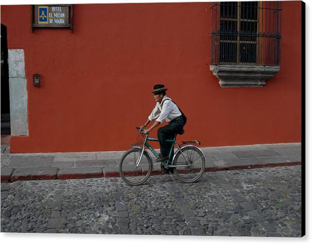 Mayan Canvas Print featuring the photograph Mayan On Bike by Joseph Cosby
