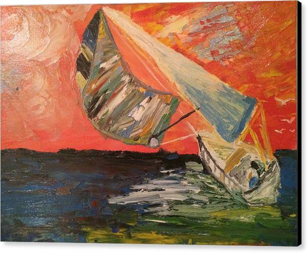Oil Sea Wood Sail Boat Beach Wind Impressionism Canvas Print featuring the painting To The Sea by Cristian Alvarez