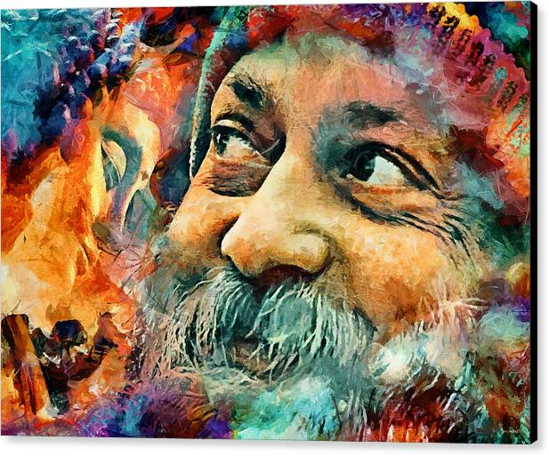 Osho Canvas Print featuring the mixed media Osho by Sampad Art
