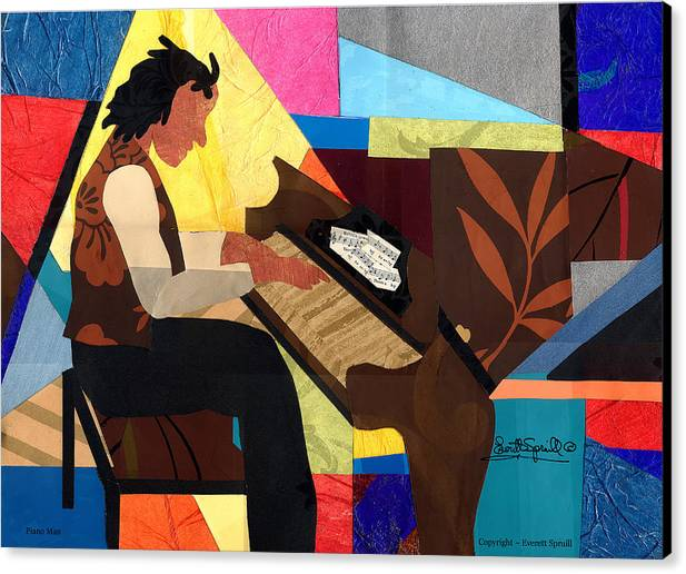 Piano Canvas Print featuring the painting Piano Man by Everett Spruill